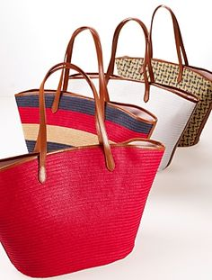 Talbots - Straw Tote - Perfect for a beach day! @Talbots