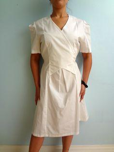 SALE Vintage Faux Wrap Dress Nurse Uniform by NatureCoastVintage