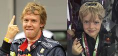 Vettel and special guest visiting the Red Bull Racing garage at the German GP