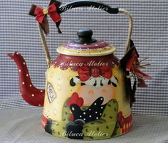 Good afternoon sister and yours, have a rest and a cup of tea☕☕☕ Teapot Crafts, Tole Painting Patterns, Pintura Country, Chickens And Roosters, Country Paintings, Milk Cans, Teapots And Cups, Country Crafts, Painted Pots