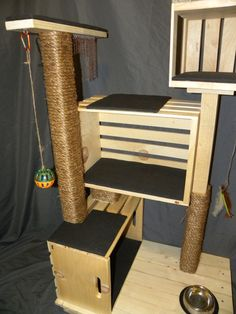 Hefty Furniture for Hefty Cats! Built to Last. This isnt your typical carpet covered scratch post, this handmade cat condo is guaranteed to keep