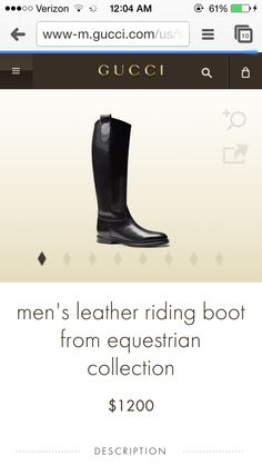 Gucci men's riding boots from the equestrian collection