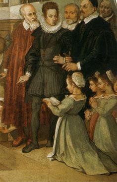 Bernardo Poccetti The visit of Cosimo 2nd de Medici in the foundling hospital - Detail