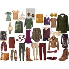 Fall Capsule wardrobe From Vivienne's Start from Scratch Formula: Olive, cognac, marooon, plum, mustard