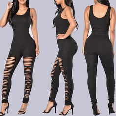 Women's Sexy Deep V Neck Ripped Tight Jumpsuit