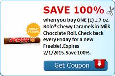 Save 100 when you buy ONE (1) 1.7 oz. Rolo® Chewy Caramels in Milk Chocolate Roll. Check back every Friday for a new Freebie!.Expires 2/1/2015.Save 100.