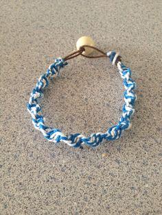 Blue and White Twisted Hemp Bracelet on Etsy, $4.00