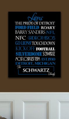 Personalized Lions Standout. ***About the Print***  -11x14 inch print mounted on a 3/4 inch black standout, ready to hang. No Frame needed. -