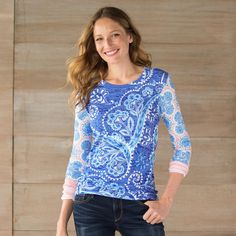 "TIMELESS PAISLEY TEE -- Swirly paisley goes big in this super soft, eco-friendly tee with contrasting long sleeves and a flattering neckline. Cotton/polyester. Machine wash. USA. Sizes XS (2), S (4 to 6), M (8 to 10), L (12 to 14), XL (16). Approx. 28""L."