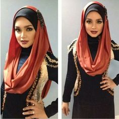 Siti make a wider infinity scarf that can be pulled up and secured as a hijab.