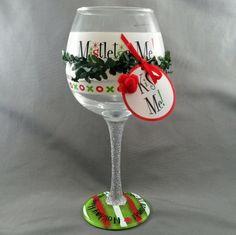 Mud Pie Christmas Bar Collection Wine Glass Mistletoe Me! Holiday Hugs Kisses   #Mudpie #Christmas