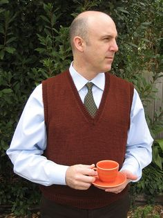 Ravelry: Perfectly Plain Vest pattern by Julie Gaddy Mens Vest Pattern, Mens Knit Sweater Pattern, Sweater Knitting Patterns, Knit Patterns, Free Knitting, Knit Sweaters, Gents Sweater, Knitting Projects, Knitting Ideas
