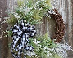 Farmhouse Christmas Wreath Christmas Door OrnamentHoliday   Etsy Christmas Door, Christmas Wreaths, Letter Wreath, Grapevine Wreath, Grape Vines, Farmhouse, Lettering, Holiday Decor, Unique Jewelry