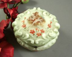 Baroque Wave Crest Oval Jewelry Casket Dresser Box // C F Monroe Co Handpainted Flowers // Cherubs Putti from Successionary, $345.96