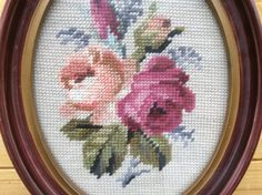 Vintage Needlepoint Petit Point Victorian Flowers Roses Floral Framed Oval | Crafts, Needlecrafts & Yarn, Embroidery & Cross Stitch | eBay!