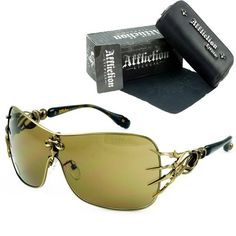 Affliction Blade Sunglasses Antique Gold/Black Shades Affliction. $119.00