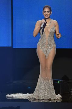 Jennifer Lopez in Charbel Zoe Couture at the 2015 American Music Awards.