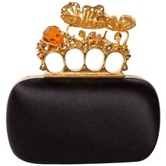 Alexander McQueen Butterfly Knuckle-Duster Box Clutch Bag | From a collection of rare vintage clutches at https://www.1stdibs.com/fashion/handbags-purses-bags/clutches/