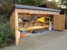 Kayak Storage Shed Marine Diy Kayak Storage, Surfboard Storage, Boat Storage, Storage Shed Plans, Recycling Storage, Storage Area, Boat Shed, Kayak Rack, Backyard Sheds