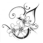 3 plumeria tattoo with heart scrolls