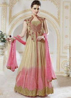 Blooming Brown And Pink Shaded Pure Georgette AnarkalI Suit  http://www.angelnx.com/Salwar-Kameez/Anarkali-Suits