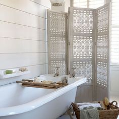 Roll-top bath and country-style shutters | Simple bathroom ideas | PHOTO GALLERY | housetohome.co.uk