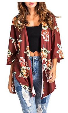 226f77520f4 ainr Women s Floral Print Slim Fit Blazer Jacket Coat With Pockets Wine Red  XXS Kimono Cardigan
