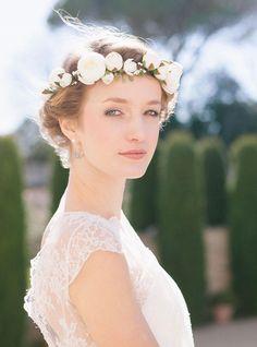 Couronne fleurs ivoire mariage rétro Naomi - English Garden