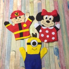 Diy handpuppets firan,,'innie mouse and minion
