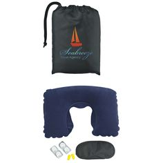 """Travel comfort kit. Includes: neck pillow, eye mask, 4 compressed towels and ear plugs in a black bag. Compressed towel expands to 9"""" x 9"""" when wet."""