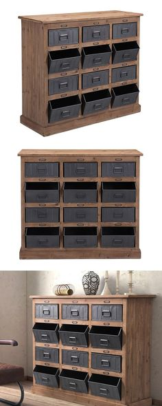 Choose a storage solution with industrial strength. Our Carter Cabinet is made with fir wood and features twelve steel-finished metal bins. Industrial Design Furniture, Industrial House, Rustic Industrial, Metal Furniture, Furniture Projects, Rustic Furniture, Diy Furniture, Modern Furniture, Furniture Design