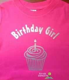 Toddler BIRTHDAY GIRL shiny foil cupcake bodysuit one piece or tee shirt