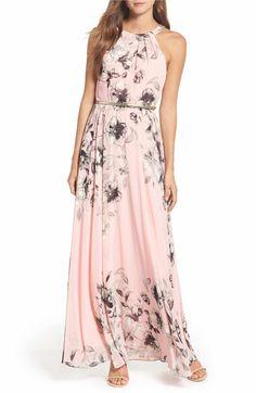 5e7448d79b3 Eliza J Belted Chiffon Halter Maxi Dress (Regular   Petite)