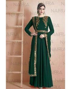 Bottle Green Embroiderd Salwar Suit