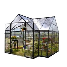Buy Palram Four Season Chalet Hobby Greenhouse - 12 x 8 x 9 Charcoal Gray securely online today at a great price. Palram Four Season Chalet Hobby Greenhouse - 12 x 8 x 9 Charcoa. Serre Polycarbonate, Polycarbonate Greenhouse, Best Greenhouse, Backyard Greenhouse, Greenhouse Ideas, Large Greenhouse, Portable Greenhouse, Greenhouse Wedding, Greenhouse Kitchen