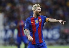 Lionel Messi of FC Barcelona during the Pre-Season Friendly between Leicester City FC and FC Barcelona at Friends arena on August 3, 2016 in Solna, Sweden.