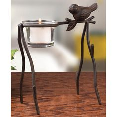 "Bird and Branch Votive.  We don't think it's going out on a limb to say that this bird and branch votive holder will look great anywhere! Cast iron stand with antique finish comes with removable glass votive. Tea light not included. 6""W x 5""H. #Gardening #Gifts #Lifestyle #Girlfriends #GirlPower #Inspirations #Sisterhood #Friendship #Cooking"