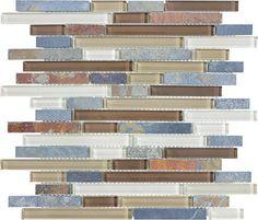 Amber Tea Glass Slate Linear Blend Mosaics
