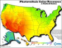 Thumbnail image of the national solar photovoltaics (PV) resource potential in the United States map.