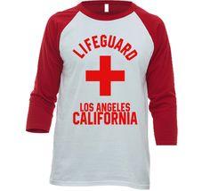 Lifeguard Santa Barbara California Coastal City Ocean Swimming Beach Bum Raglan T Shirt Santa Barbara California, Beach T Shirts, Los Angeles California, Lifeguard, Beach Bum, Swimsuits, Bikinis, Swimwear, Coastal
