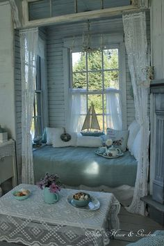 Lovely shabby chic reading nook from Aiken House & Gardens