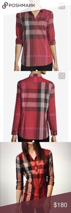 🇬🇧Burberry 🇬🇧Brit Berry Red, 🌹M. Beautiful Berry Red Check Cotton Blouse, Spread Collar, Placket Conceals Mother of Pearl Button Front. Shorttail hem. Slim Fit. Long Sleeves. Last Button Broken. Thailand Burberry Tops Button Down Shirts