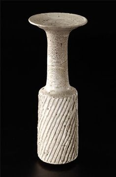 Tall cylindrical vase, Stoneware, white pitted glaze with manganese speckle over a diagonally 'fluted' body. Ceramic Pottery, Pottery Art, Ceramic Art, Pottery Ideas, Pottery Workshop, Modern Ceramics, Clay Art, Candlesticks, Stoneware