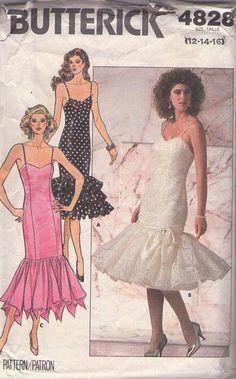 Butterick 4828 Vintage 80's Sewing Pattern SUPERB 20s Style Great Gatsby Slip Dress, Handkerchief Hem...