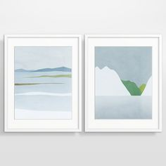 Modern wall art set of 2 prints of Scandinavian winter landscape. Neutral palette will easily fit with any decor.  This set in large sized limited