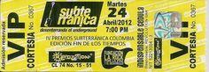 Boleta de los Premios Subterránica 2012 Colombia