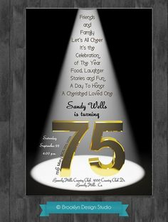 75th Birthday Party Ideas | 75th Birthday Bash Custom Designed by ... | Party Ideas