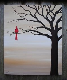Red Bird Original Acrylic Canvas by SugarCreekArt on Etsy BTW, get this cool art…Original acrylic on canvas, 20 x One bright spot of color, a crimson cardinal perched regally in a leafless tree painted in silhouette. Acrylic Canvas, Canvas Art, Tree Canvas, Painted Canvas, Canvas Ideas, Beginner Painting, Easy Paintings, Canvas Paintings, Indian Paintings
