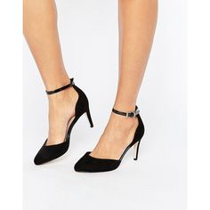 ASOS SWALLOW Heels (£34) ❤ liked on Polyvore featuring shoes, pumps, black, asos shoes, high heel ankle strap shoes, black ankle strap pumps, asos and ankle strap shoes