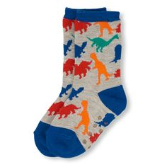 Toddler Boys Dino Print Crew Socks